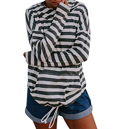 Stripe Blouse,Toimoth Women Long Sleeve Sweatshirt Hooded Pocket Pullover Tops - Dead Poker Walking Set