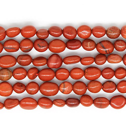 JARTC Natural Irregular Shape Stone Beads 6-8mm Red Jade Gemstone Energy Cured for Jewelry Making - Jade Gemstone Red