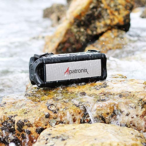 [Upgraded] Waterproof Bluetooth Speaker 60W (80W Max), Portable, Wireless, 8000mAh Power Bank, Shockproof, TWS, DSP, Stereo, Subwoofer, TF Card, Equalizer, Alpatronix AX500, Indoor & Outdoor – Black 51rJdodr 2BxL