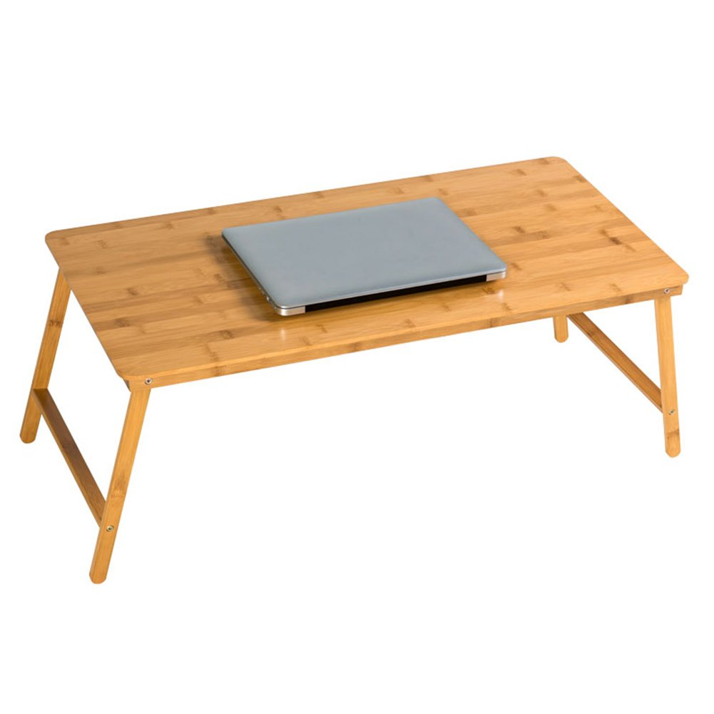 PENGFEI Foldable Laptop Stand for Desk Multifunction Portable Home Bed Sofa Table College Students Dorm Room Learn Bamboo, Wood Color (Size : 80x38x32CM)