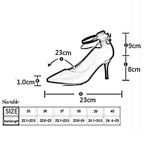 Y Hebilla Chanclas Tacón De Casual Mujer Confort Zapatos Negro Sandalias Pu Primavera Verano Estrecha Carrera Punta Antidérapant Para Aguja Fei Oficina Vestido AwqTOT