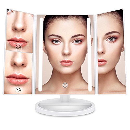 BESTOPE 24 Led Makeup Mirror Larger Vanity Mirror with 3x/2x Magnification,Trifold Lighted Mirror,Touch Screen, 180° Adjustable Rotation,Battery and USB Powered,Countertop Cosmetic Mirror (Piece 4 Full Panel)
