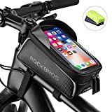 ROCK BROS Bike Front Frame Bag Bike Phone Bag Cycling Waterproof Bicycle Phone Mount Bag Phone Case Holder Top Tube Frame Bag Compatible with iPhone X XS Max XR 8 7 Plus