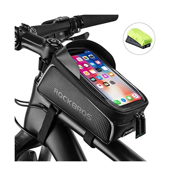 ROCK BROS Bike Front Frame Bag Bike Phone Bag Cycling Waterproof Bicycle Phone Mount...