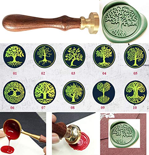 MNYR 32 Styles Vintage Tree of Life Decorative Plant Wax Seal Sealing Stamp Curlicue Wedding Invitations Love Valentine's Day Gift Cards Embellishment Cutomize Seal Stamp Rosewood Handle Set -