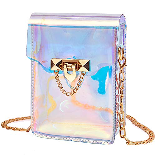 Mini Hologram Clear Cross Body Purse Shoulder Bag Handbag for Women (Style B)