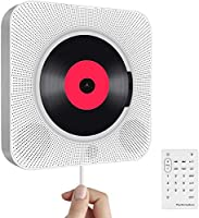 Lecteur CD Portable avec Bluetooth,Haut-Parleur HiFi Mural intégré,Haut-parleurs Audio pour la Maison avec Radio FM à...
