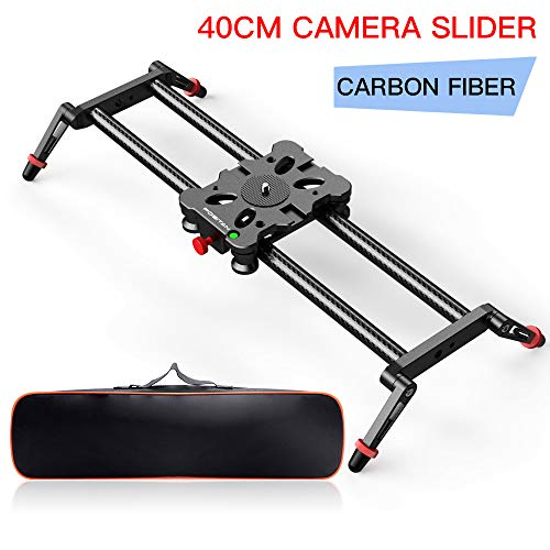 15.7″/40CM Camera Slider on Carbon Fiber, FOSITAN Camera Track Dolly Rail with 4X Bearing 3X Cold Shoe Hole for DSLR Camera Like Nikon Canon Sony Camcorder Stabilize Photography Rail 17.6lbs Loading