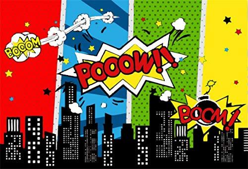 Yeele 10x8ft Vinyl Photography Background Superhero Super Heroes Party Decoration Supplies Super City Words Boom Poow Photo Backdrops Pictures Studio Props (8' Digital Album Photo)