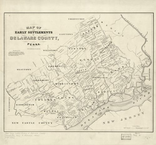 - 1790 | 1862 Map of the early settlements of Delaware County, Penna. - Size: 24x24 - Ready to Frame -