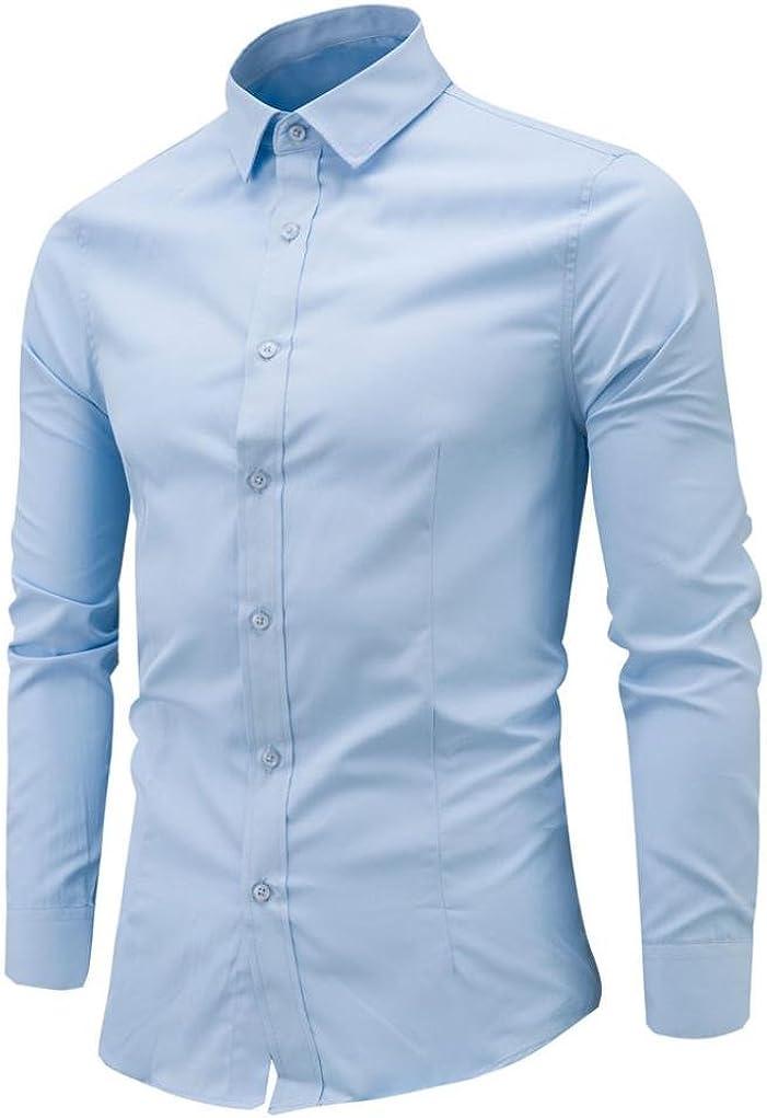 LMMVP Camisa de Hombre Moda Personalidad Manga Larga Ajustado Clásico Básica Botón Formal Negocio Camisa Casual Camiseta para Hombre Tops para Hombre Blusa para Hombre (XXL, Azul Claro): Amazon.es: Ropa y accesorios