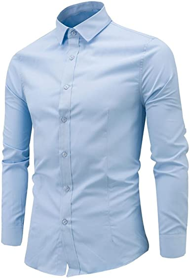 LMMVP Camisa de Hombre Moda Personalidad Manga Larga Ajustado Clásico Básica Botón Formal Negocio Camisa Casual Camiseta para Hombre Tops para Hombre Blusa para Hombre (XXXXL, Azul Claro): Amazon.es: Ropa y accesorios