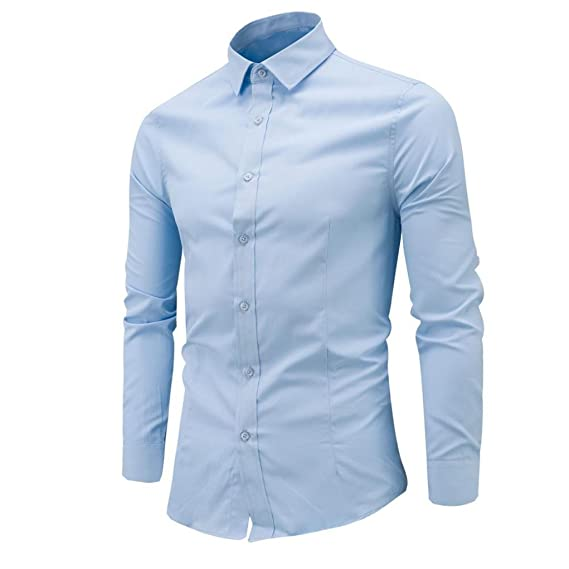 83eda84b86f LMMVP Camisa de Hombre Moda Personalidad Manga Larga Ajustado Clásico  Básica Botón Formal Negocio Camisa Casual