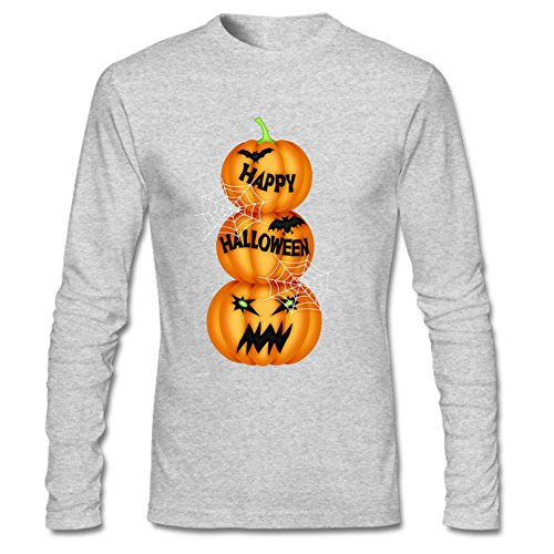 [HAPPY PumpkinMens Long Sleeve Easy Halloween Costume Fun T-Shirt XXL Gray] (Nerd Costume Offensive)