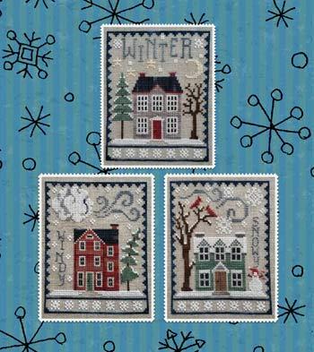 Waxing Moon Cross Stitch - Winter House Trio Cross Stitch Chart
