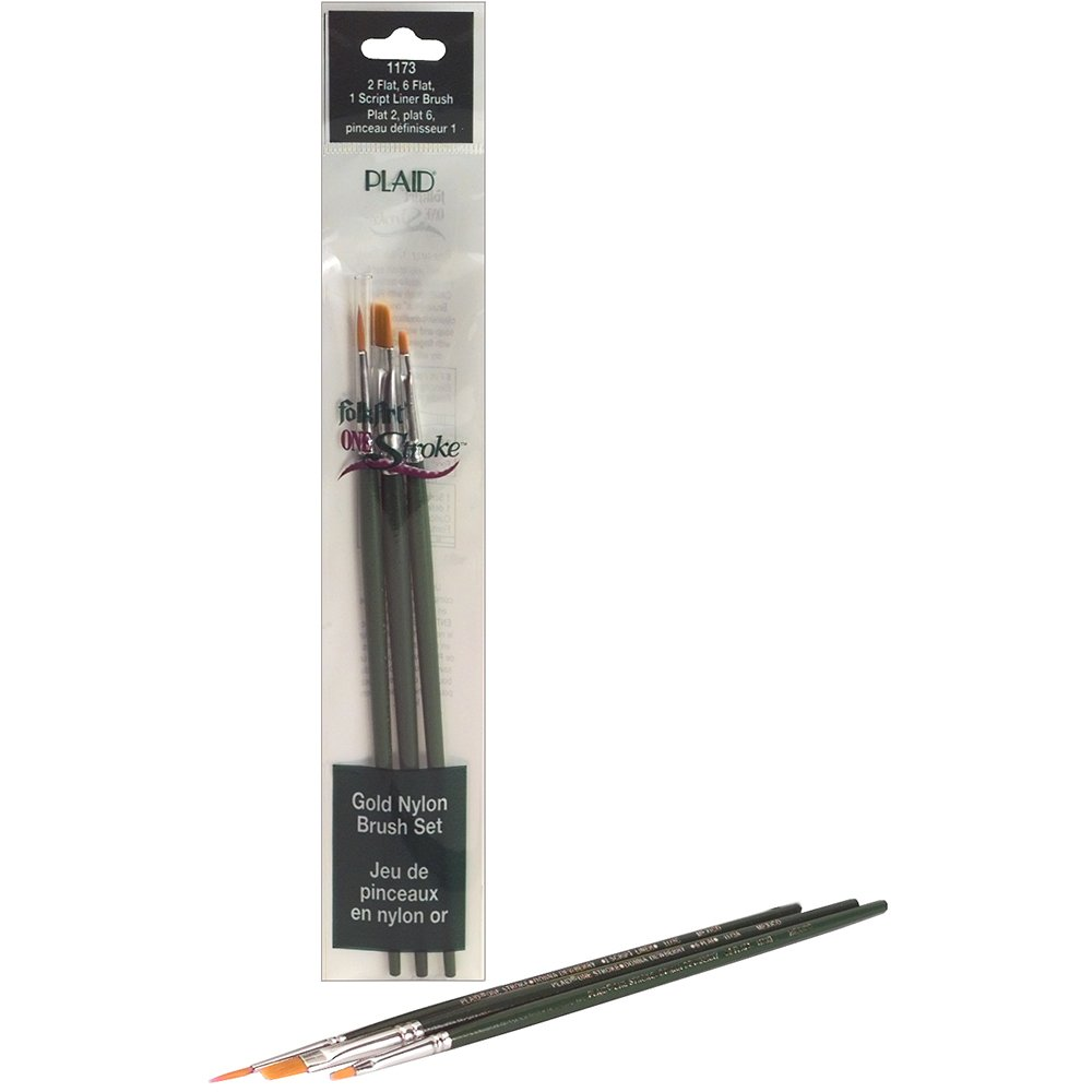 Plaid FolkArt One Stroke Liner Mini Brush Set, Flat, Size 1,2 and 6 Notions - In Network 1173