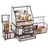 Cosmetic Display Cases Storage Box Girl's Favorite Gift Dust-Proof Flip Glass Cosmetic Storage Box Skincare Makeup Dressing Table Desktop Makeup Brush Storage Finishing Box Cases