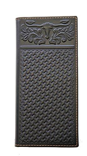 (Montana West Men's Bi-fold Wallet Genuine Leather Tooled Basketweave Longhorn Black)