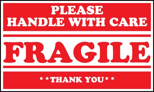 Interplas SCL536 Fragile Please Handle With Care Warning Label, 3