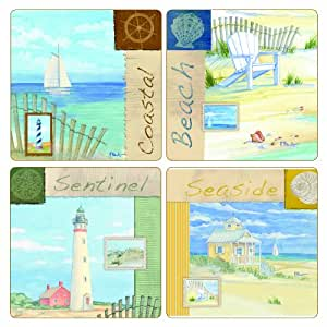"""CoasterStone AS1755 Absorbent Coasters, 4-1/4-Inch, """"Coastal Collage"""", Set of 4"""