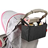Uphome Fashion Multifunction Travel Portable Baby Diaper Bag Insert Nappy Storage Bag Stroller Organizer with 7 Separate Pockets (Black)