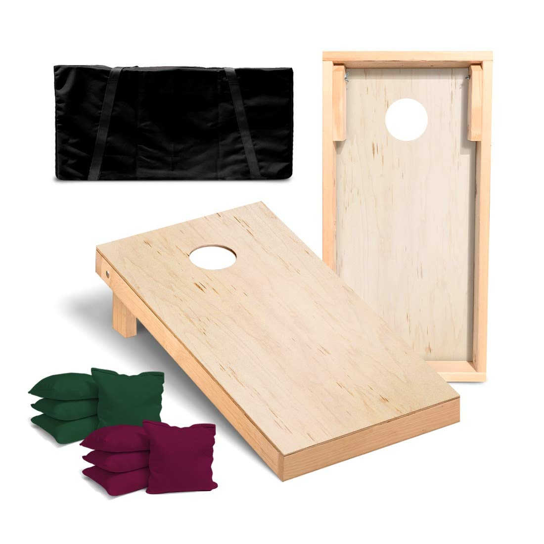 Victory Tailgate Unfinished Regulation Cornhole Bean Bag Toss Game Set with 4 Burgundy and 4 Hunter Green Corn Filled Bags