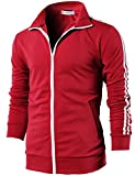 H2H Mens Slim Fit Basic Zip-up Long Sleeves Training Jacket RED US L/Asia XL (CMOJA0103)