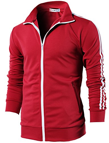 H2H Mens Slim Fit Zip-up Elastic Training Jacket RED US 2XL/Asia 3XL (CMOJA0103)