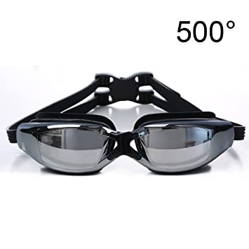 91091f40f0 Myopia Swimming Goggles Water-Proof Anti-Fog Adjustable Swimming Glasses  Unisex Style for Men Women Black (500 Degrees)