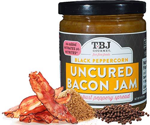 (TBJ Gourmet Black Peppercorn Bacon Jam - Original Recipe Bacon Spread - Uses Real Bacon & Black Peppercorn - No Preservatives - Authentic Bacon Jams - 9 Ounces)
