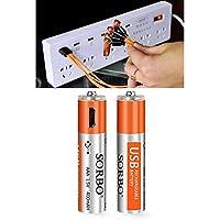 単四 USB充電池 USBバッテリー 1.5Vリチウム電池 充電器不要 2本入り 充電ケーブル・収納ケース付き【国際安全認証取得製品】