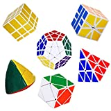 YuheBaby Magic Cube Puzzle Bundle of 6 Pack ,Turns Quicker and More Precisely Than Original-White