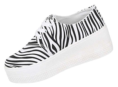 Damen Schuhe Halbschuhe Plateau Sneaker Freizeitschuhe Weiß Schwarz