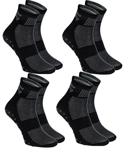 4 pairs of Black Non-slip Socks ABS, SPORT: Yoga Fitness Pilates Trampolines L Review