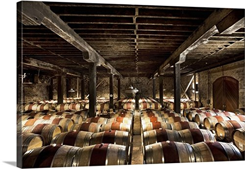 Pietro Canali Premium Thick-Wrap Canvas Wall Art Print entitled California, Napa Valley, Barrel room at the Hess Collection Winery Hess Collection Napa Valley