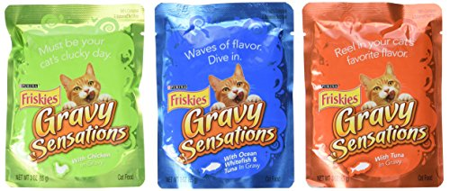 Friskies Gravy Sensations Surfin' & Turfin' FavoritesVariety Pack Cat Food 12-3oz pouches Review