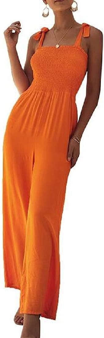 Abeaicoc Womens Sleeveless Elastic Waist Tie Shoulder Strap Wide Leg Jumpsuit Romper