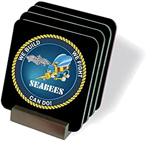 MilitaryBest US Navy Seabees Enlisted Drink Coasters from MilitaryBest