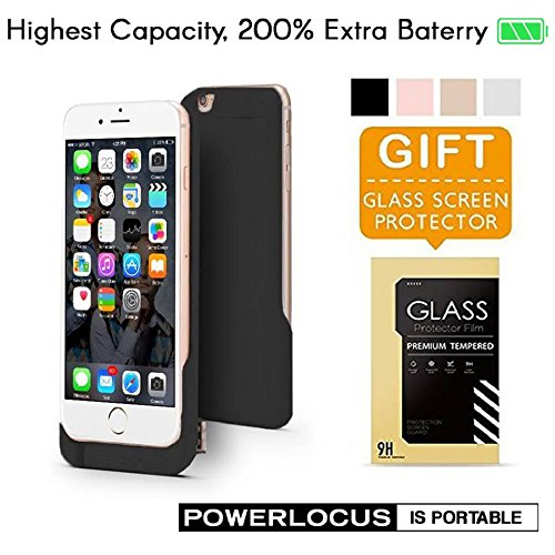 iPhone 6 6S Battery Case, Ultra Slim Extended iPhone 6 Battery Case 6800mAh, External Portable Charging Case, High Capacity Battery Pack Bank Cover (Black) by PowerLocus