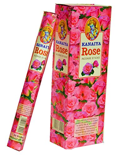 Rose Incense Sticks from India - 120 Sticks - Made From Natural Scented Oil - Kanaiya Brand By Tikkalife