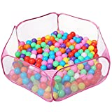 Urbebe Foldable Design Kids Ball Pit Tent Durable Netting Fabric Ball Pit Playpen with Zippered Storage Bag for Toddlers Pets 45.3-inch by 14.6-Inch (Pink)