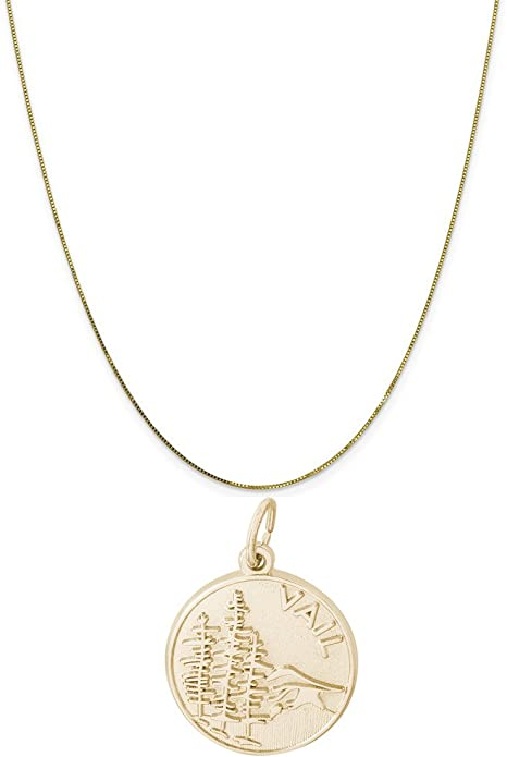 Rembrandt Charms Two-Tone Sterling Silver Aspen Charm on a Sterling Silver 16 18 or 20 inch Rope Box or Curb Chain Necklace