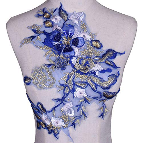 3D Flower Embroidery Sequins Applique Cloth Patches Hand Sewn Patch No Glue Sewing Accessory DIY for Dress Wedding ()