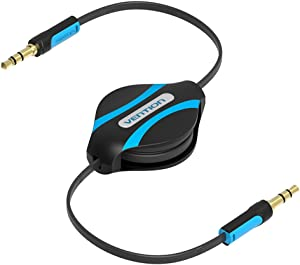 Vention 3ft Retractable Aux Cable 3.5mm Male to Male Auxiliary Stereo Jack Audio Cable for iPhone 6 Car Samsung Mp3 Mp4 1M (Black)