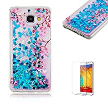 Samsung Galaxy S6 Edge Case [with Free Screen Protector],Funyye Flowing Liquid Quicksand Stars Bling Glitter Sparkles Shinny Colourful Printed Design Transparent Soft TPU Rubber Silicone Gel Clear Crystal Back Skin Cover Case for Samsung Galaxy S6 Edge - Pink Plum