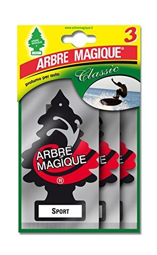 Arbre Magique 102710 luchtverfrisser voor de auto, Tris Sport, zwart/wit/rood, 3 stuks single Zwart/Wit/Rood