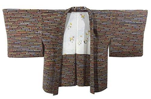 足枷絡まるポンペイリサイクル 羽織 横段に篠笛模様 正絹 裄63cm 身丈71cm