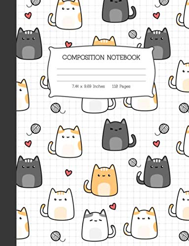 Price comparison product image Composition Notebook: Kawaii Kitty Cat Wide Ruled Lined Journal