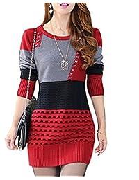 Gaorui Women Fashion Winter Long Sleeve Knitted Jumper Sweater Dress Pullover Jackets