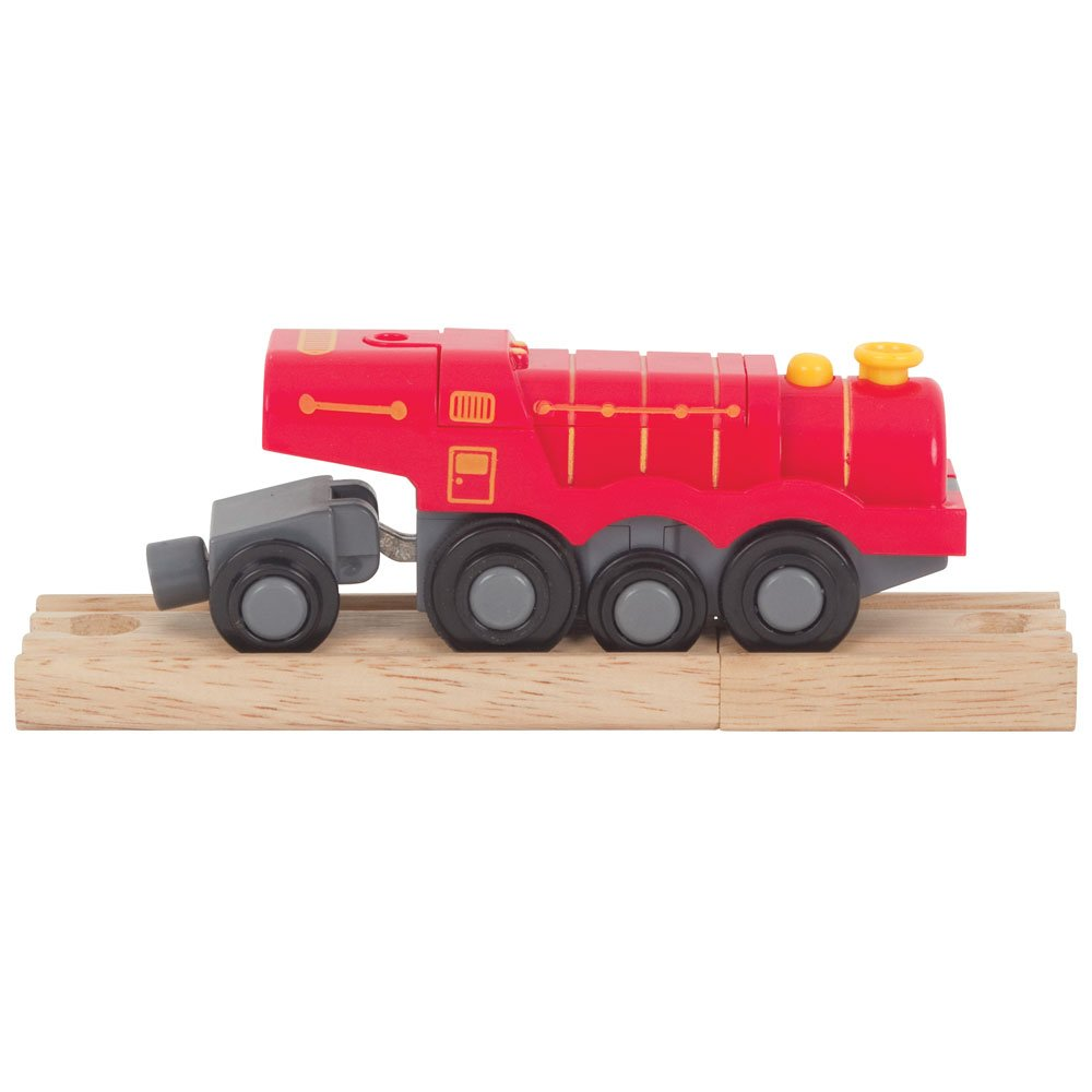 Bigjigs Rail Big Red Steam Battery Operated Locomotive - Other Major Rail Brands are Compatible BJT307